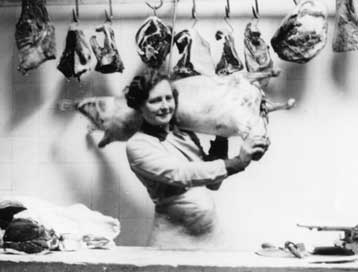 © Museum Of London, WWII Sainsbury's woman butcher