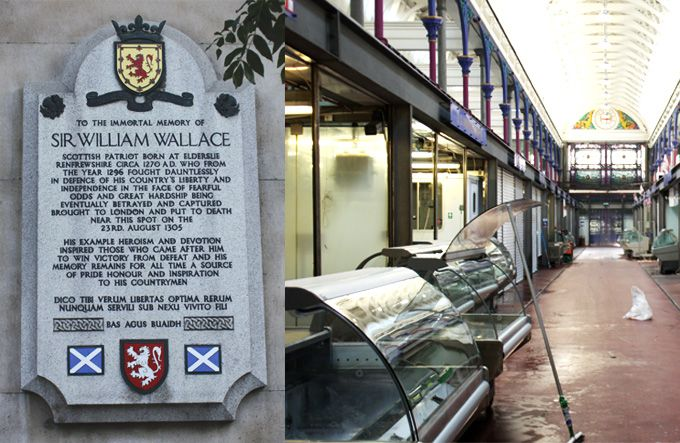 © A Potted History  Left: A plaque at Barts Hospital marks the death of Sir William Wallace in 1305 Right: The market today, pictured after the end of morning trading