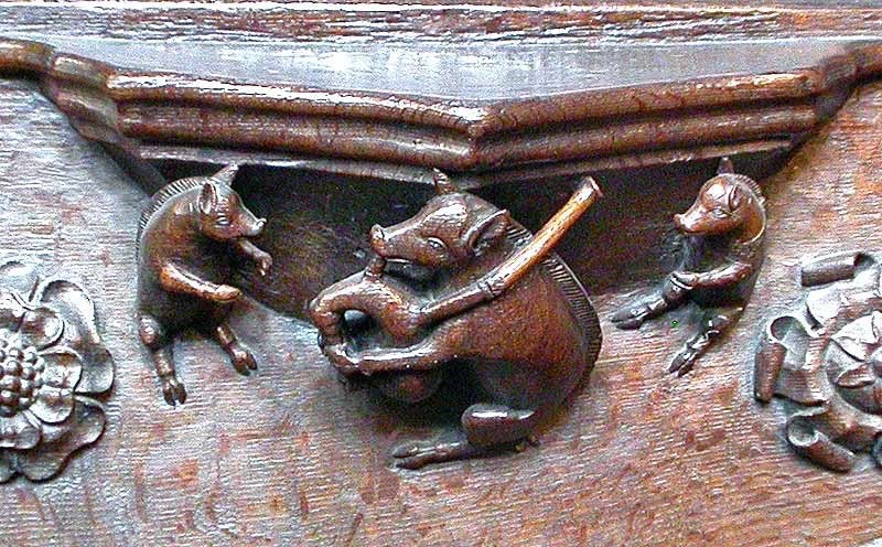 Cathedral flute playing pigs