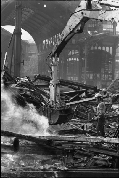 Les Halles during the razing in 1971