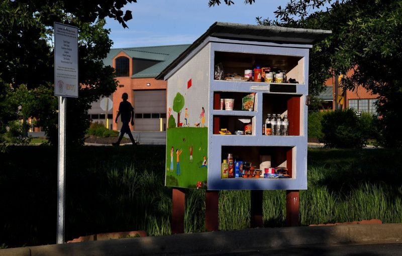 The Little Free Pantry in the parking lot of the Lexington Park library is easily accessible to people in cars as well as pedestrians. © Michael S. Williamson The Washington Post