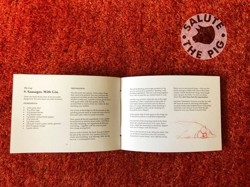 Salute The Pig recipes book contents 1