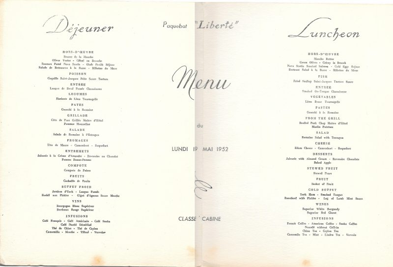 Menu from the packet boat Liberté