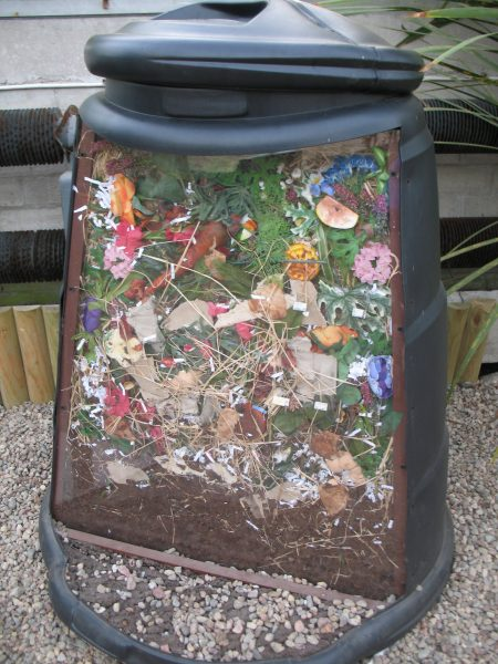 Cutway model of a domestic compost bin, photographed in Duthie Park Gardens, Aberdeen
